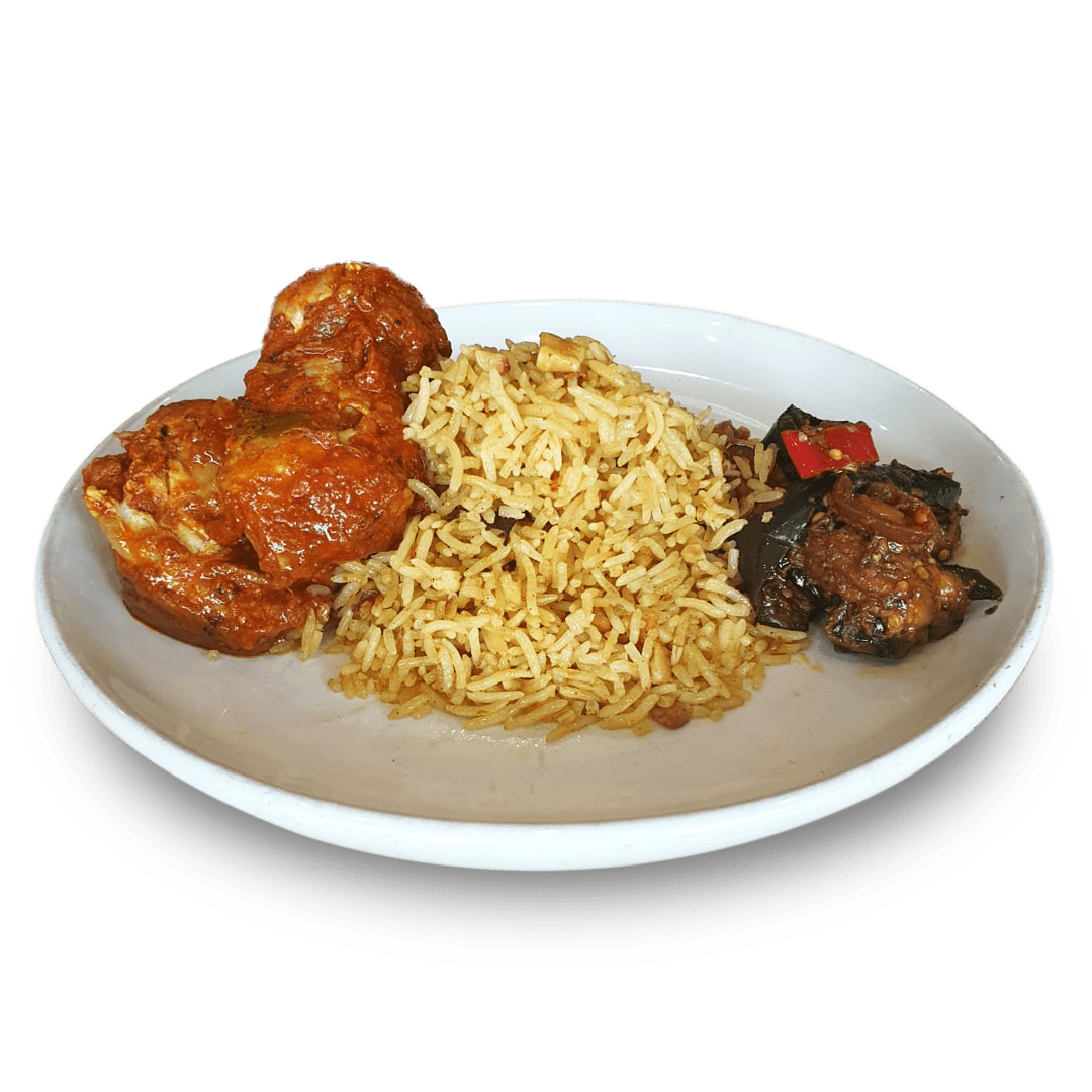 Chicken Curry with Eggplant Relish & Spiced Rice