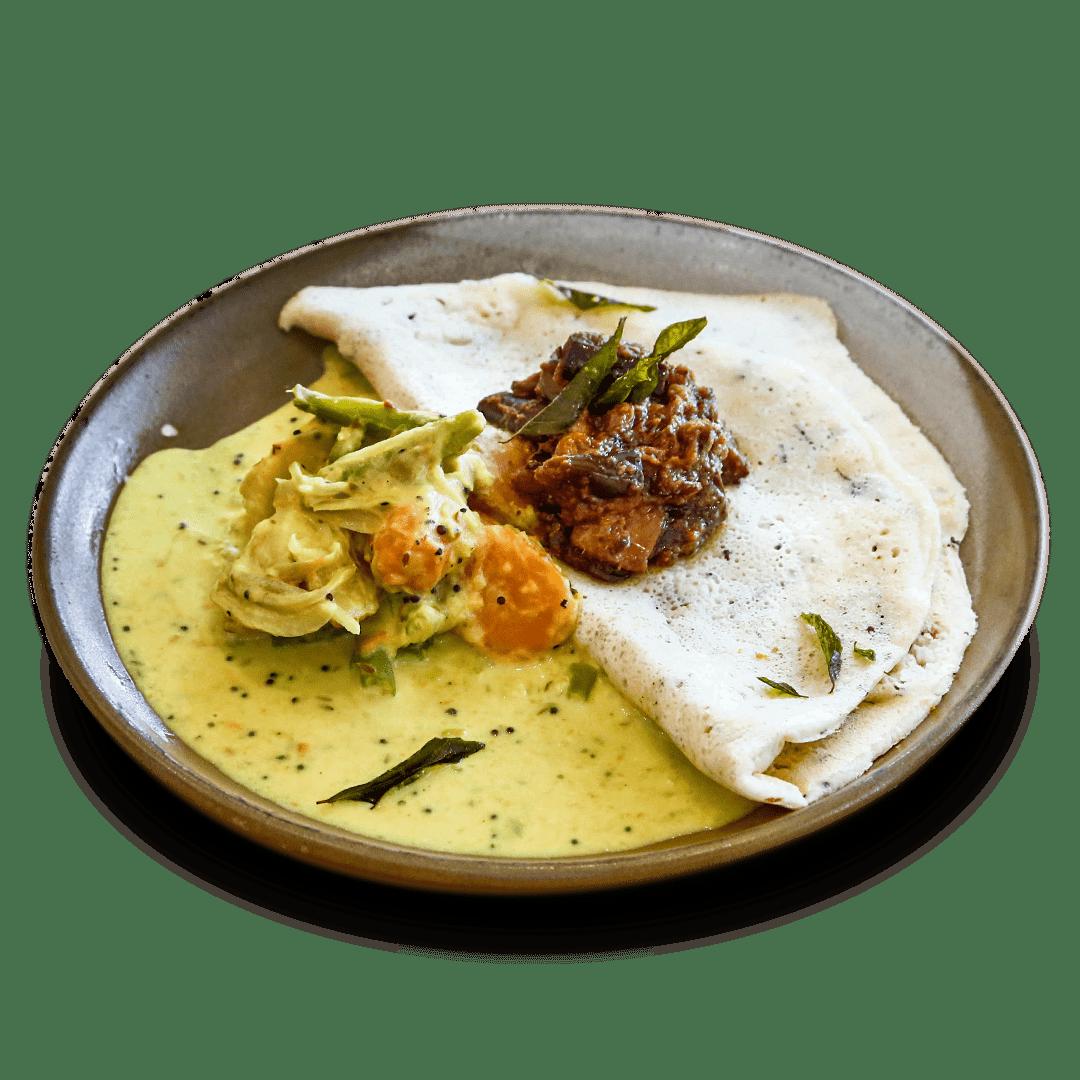 Lentil Pancake with Veg Curry & Sambol