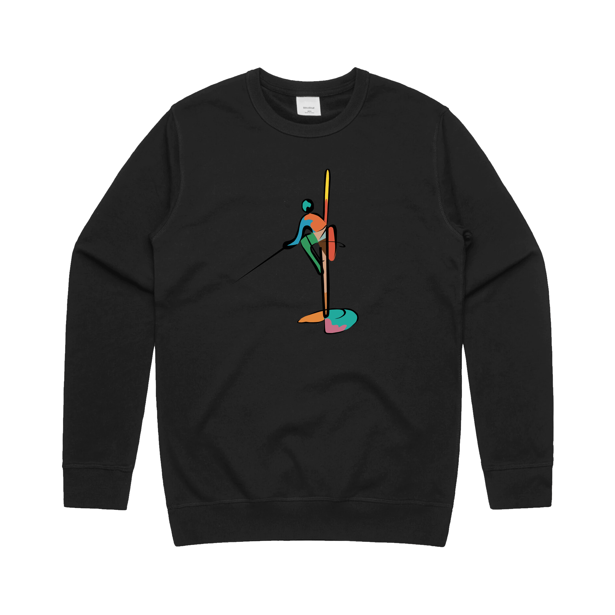Colourful Fisherman - Crew Jumper - BLACK