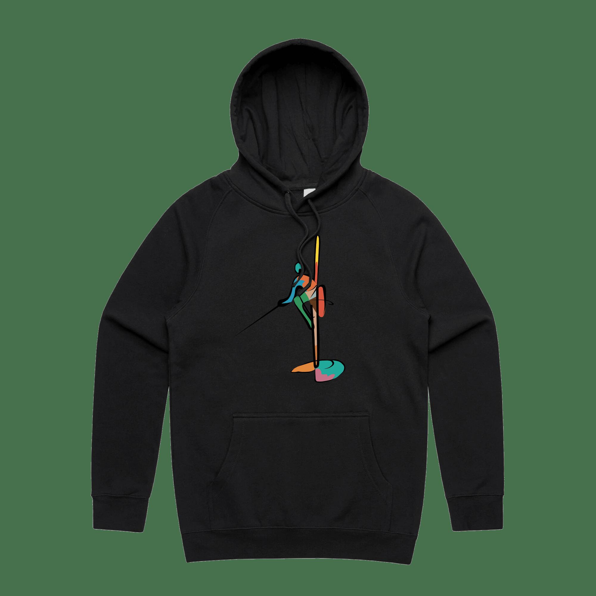 Colourful Fisherman Hoodie - BLACK