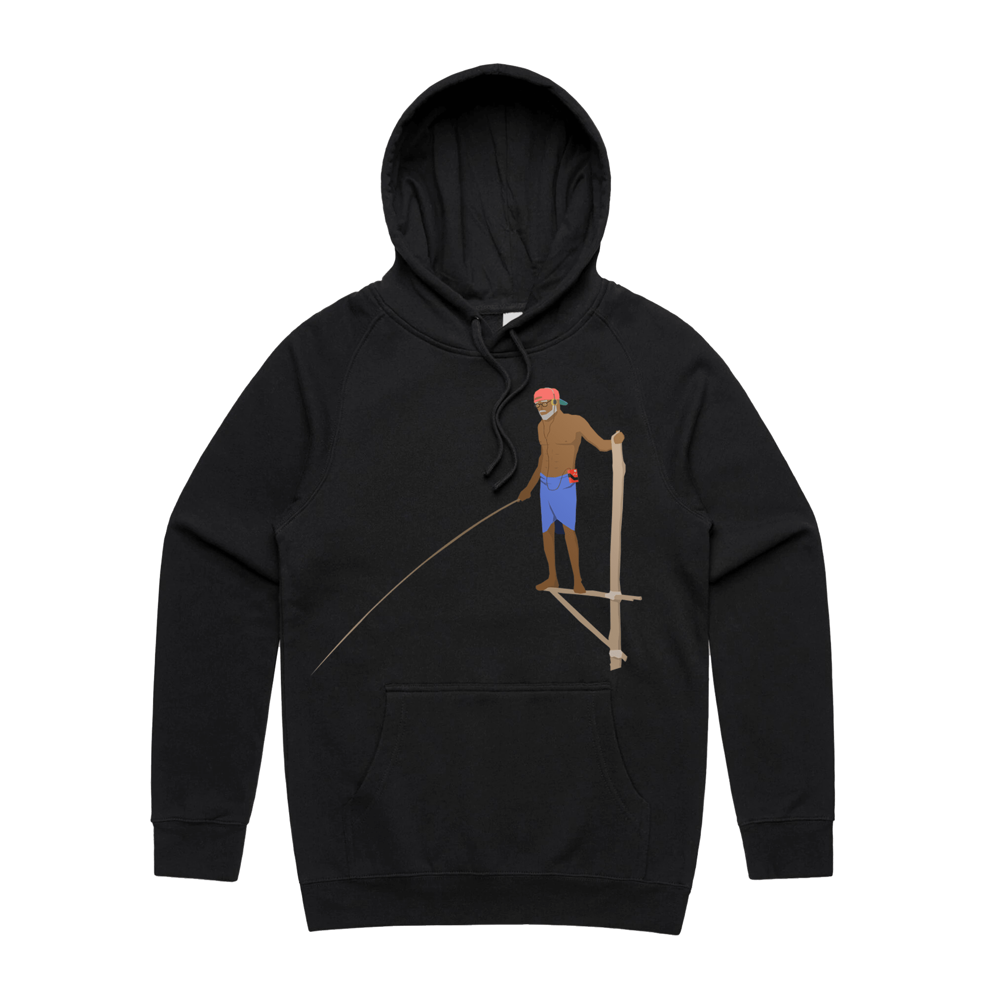 RETRO FISHERMAN Hoodie - BLACK