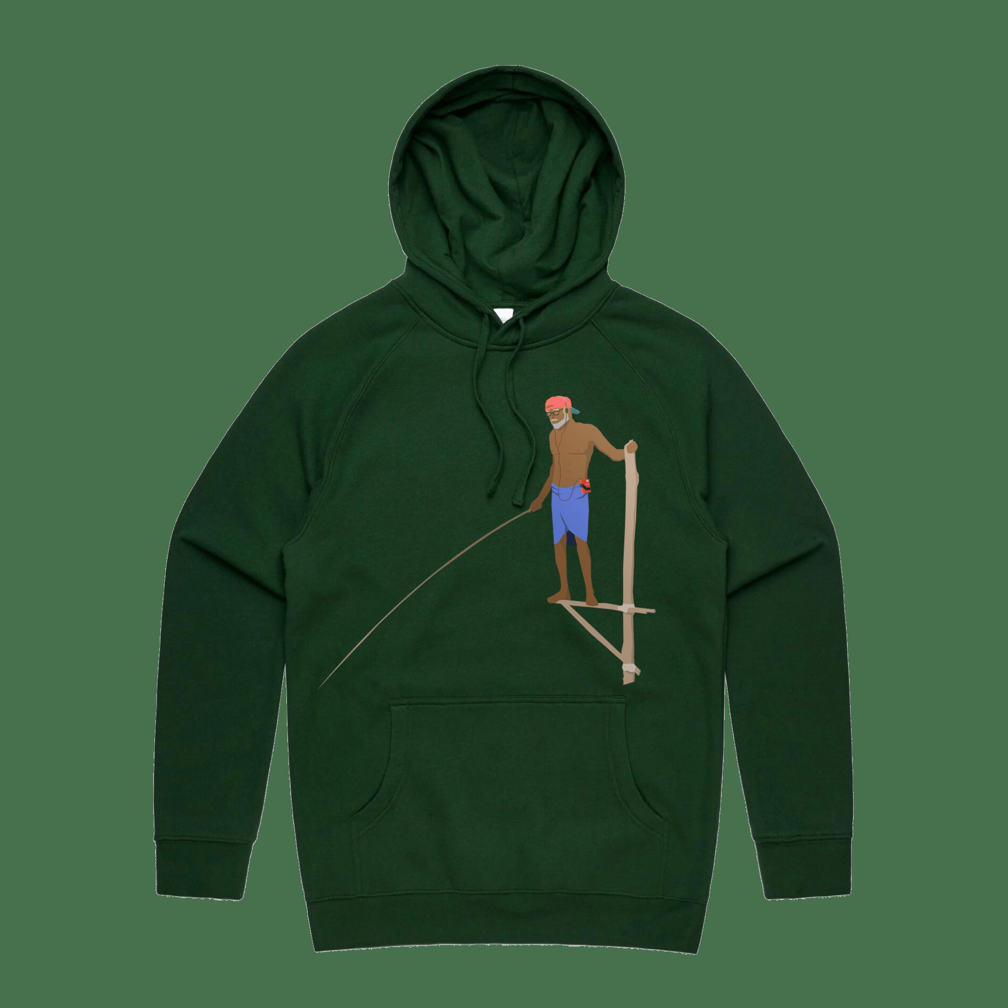 RETRO FISHERMAN Hoodie - FOREST GREEN