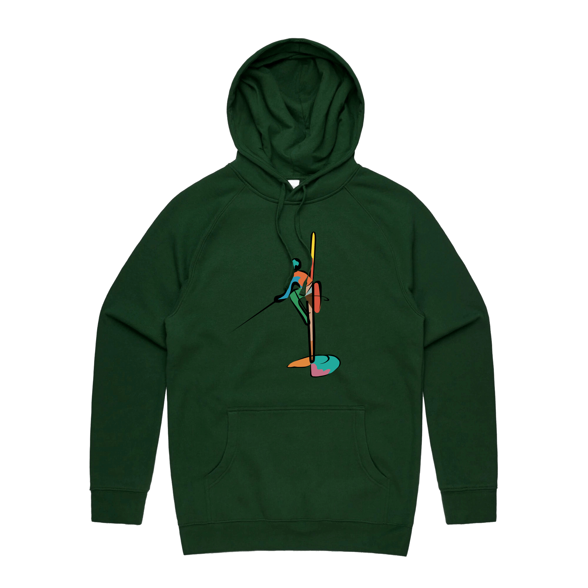 Colourful Fisherman Hoodie - FOREST GREEN
